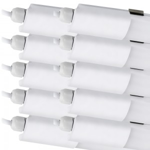 10x LED Industrielampe SET 230V IP65 36W 120cm 4000K weiss