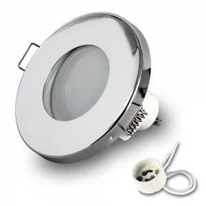 1x Einbauspot LED 230V IP44 RIK.6 chrom GU10 7W warmweiss