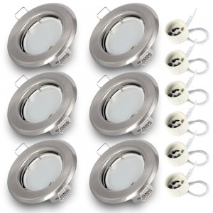 6x Einbauspot SET RIK.15 nickel matt rund GU10 7W warmweiss