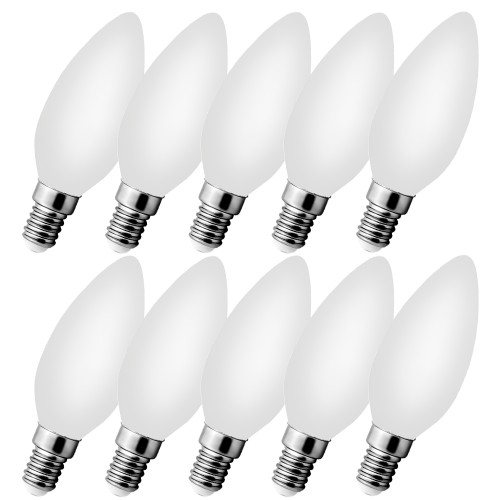 10x Leuchtmittel LED FILAMENT MILK 230V E14 C35 4W warmweiss