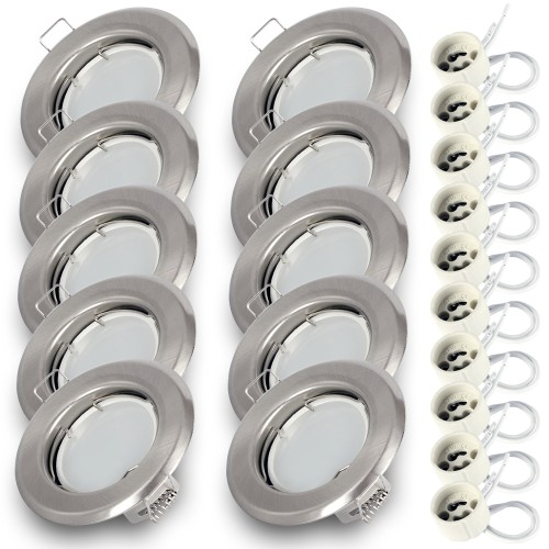10x Einbauspot SET RIK.15 nickel matt GU10 7W warmweiss